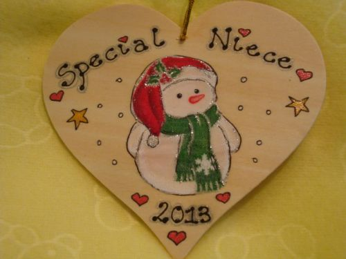 Decoration Tree Hanger Snowman Christmas Special Niece Large Wooden Heart Can be personalised Handmade